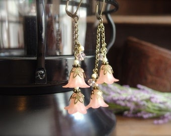 Delicate rose petal jewelry with crystal and pearl earrings. *ROSIE* Free Shipping-USA