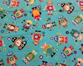 """Robots 100% cotton fabric - heavier weight fabric - Inventory Reduction, 25"""" (63.5 cm) x 42"""" (1.06 meters)"""