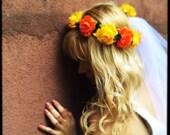 Bridal Flower Wedding Headband With Veil Orange Yellow Boho Headpiece Crown Tiara Fall Weddings