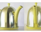 Vintage Hall China Canary Yellow Teapot and Aluminum Cover