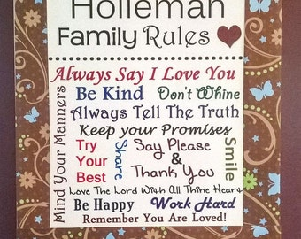Personalized Family Rules subway art just for you. Mounted on Canvas.  Great wedding gift or anniversary gift.