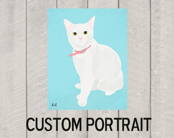 Custom Cat Portrait - Modern Cat Art