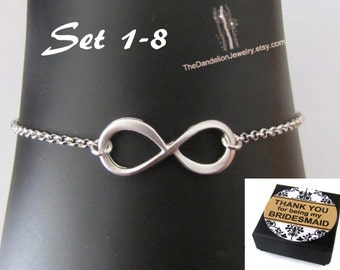 SALE 10% OFF: Bridesmaid Gift Bracelet Infinity Bracelet Jewelry Weddings Bridal Bracelet Wedding Jewelry Wedding Bracelet Message Card