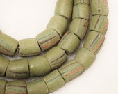 Rustic Green African Beads (10), Ethnic Beads (B45)