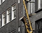 Saxophone Art Music Print Jazz Art, Amsterdam Photography Black and White Street Art, Architecture, Europe Travel - Standard Jazz