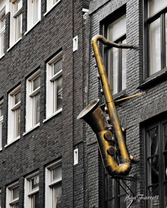 Arts Music Photography: Saxophone Art Music Print Jazz Art Black And White