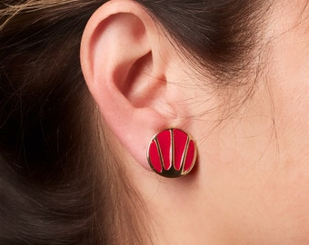 Vintage Red Enamel And Gold Tone Clip Earrings Pat. 2733491