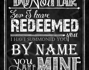 Scripture Art - Isaiah 43:1 Chalkboard Style