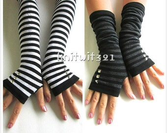 SALE: Striped Arm Warmers-Grey Gloves- Fingerless Gloves-Knit Gloves-Studded Gloves.