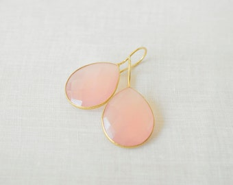 Blush Pink Chalcedony Teardrops