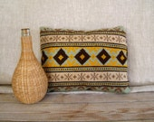 Cross Stitch Pillow, Needlework Pillow, Vintage Throw Pillow, Folk Art, Retro Pillow, Mid Century Pillow, Geometric Pattern, Cottage Chic