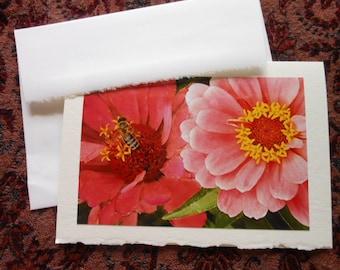 Peach Dahlia Flower Photo Note Card Blank with Deckle Edge - #DAHL005