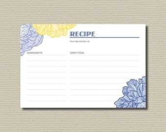 Bridal Shower Recipe Cards // Retro Flower Blue & Yellow (PP27)