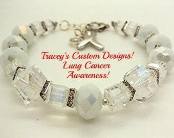 Beautiful LUNG CANCER AWARENESS Keepsake Bracelet - New Design.