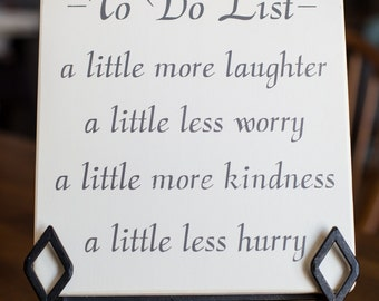 To Do List- Wooden Sign in Brown & Off White