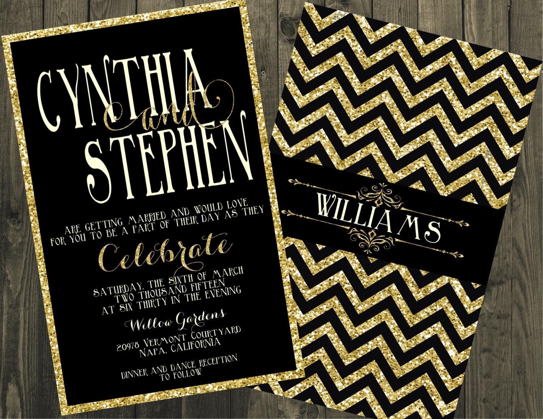 Black White And Gold Wedding Invitations: Black And Gold Wedding Invitation Glitter Wedding