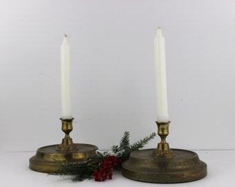 Viintage Brass Candlestick Vintage Candle Holders Set of Two