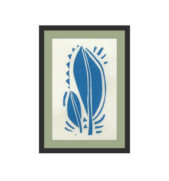 Linoleum Block Print Leaves 4x6 Linocut Printmaking By