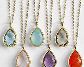 Stone drop necklace, Gemstone necklace, gold gemstone necklace, bridal jewelry, bridesmaid jewelry.