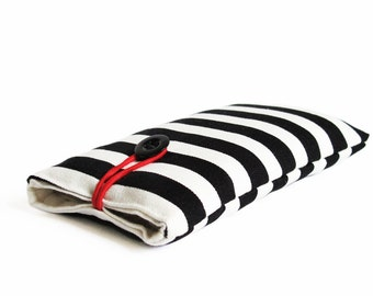 case for iPhone 4S, 4, 5, 6 , 7 plus, black and white striped bag sleeve cover fabric handmade