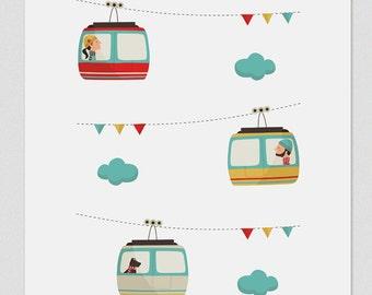 Illustration, Print, Cable car, Tutticonfetti, Wall art, Art decor, Hanging wall, Printed art, Decor home, Gift idea, Bedroom, Sweet home