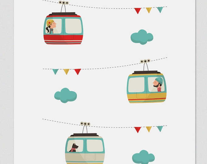 Illustration, Print, Cable car, Tutticonfetti, Wall art, Art decor, Hanging wall, Printed art, Decor home, Gift idea, Bedroom, Sweet home