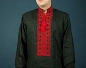 Men's vyshyvanka. Ukrainian embroidered shirt. Linen shirts for men. Ethnic embroidery 100% linen Black. Embroidery stitch in natural linen