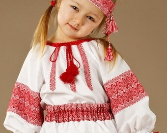 Ukrainian embroidered Children's blouse. Children vyshyvanka. Embroidery blouse. Beautiful Baby blouse in the Ukrainian style