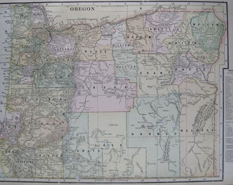 Antique Map of OREGON Map 1900 Gallery Wall Art Vintage Collectible Map Plaindealing 5446