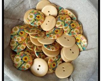 30mm wooden sunflower buttons x 10
