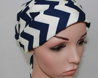 Surgical Scrub Ha, Pleatedt with band, Navy&Cream Chevron 20%Off Regular Price