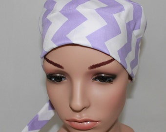 Surgical Scrub Hat, Mini, Chemo style hat with band. Lilac&Cream Chevron 20% Off Regular Price