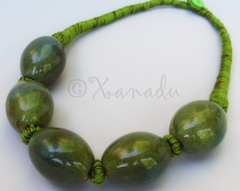 Olive Green Porcelain Necklace With Eclectic Forest Green And Brown Cotton Thread Cords