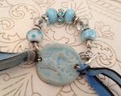 Blue Ceramic Horse Bracelet with Chunky Beads and Silk Ribbon, Equestrian Bracelet, Gift for Horse Lover, Faded Denim Blue, Sky Blue