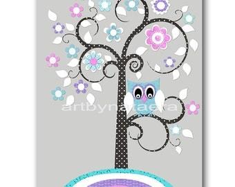 Baby Girl Nursery art Print Nursery Print Kids Art Kids Wall Art Kids Rooom Decor Children Art Tree Nursery lavender rose teal Nursery