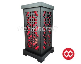 No Screw Design Asian Oriental Red Japan Wood Carving Fiber Art Bedside Table Lamp Wood Light Shades Furniture Living Bedroom Home Decor