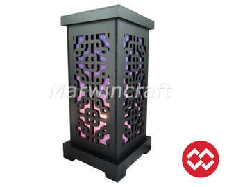 Asian Oriental Wood Carving Bamboo Design Art Bedside Table Lamp Wood Paper Light Shades Furniture Gift Living Bedroom Home Decor