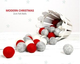 Felt Balls // Christmas Decoration // DIY Garland // DIY Mobile // Modern Christmas Color Set // 2.5 cm // 30 count