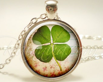 Four Leaf Clover Necklace, Good Luck Charm, Lucky St. Patrick's Day Green Jewelry (1937S1IN)
