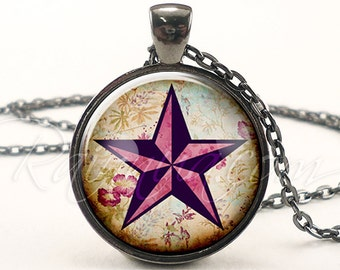 Nautical Star Necklace, Punk Star Jewelry, Tattoo Star Pendant (1938G1IN)