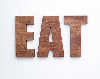 EAT exotic wood letters freestanding sign rustic decorative sapele wooden words for wall natural decor eco alphabet home chef foodie gift