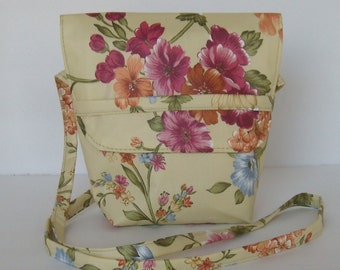 Yellow Flowered Messenger Sling Bag Purse