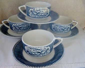Currier and Ives Buggy Ride Cup and Steamship saucer Scroll poin handle Very good 4 sets included
