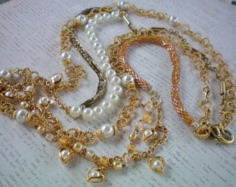 Multi strand gold beaded and pearl statement necklace, Recycled and handmade jewelry, Upcycled jewelry,Free USA shipping,USA & Michigan made