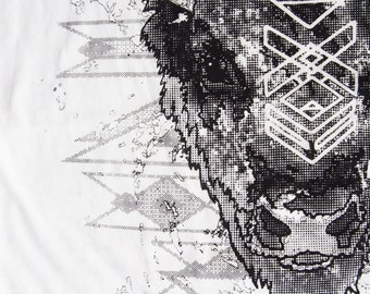 Buffalo Spirit Portrait - Tribal Winter - Many tone Screenprint in Black Grayscale on a White Cotton Tshirt