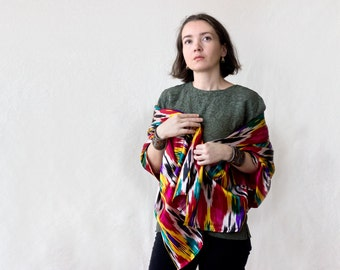 handwoven silk scarf, MORE OPTIONS, silk throw, silk ikat scarf, Uzbek ikat scarf, Uzbek silk scarf, black white, wine silk scarf, tribal