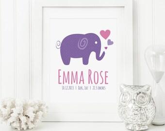 Elephant Nursery Art - Elephant Baby Art - Personalized Nursery Decor - Custom Baby Art - Personal Baby Gift - Elephant Wall Art Print