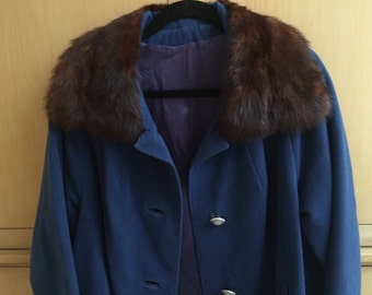 Vintage Mink Blue Wool Coat 1960's Glam Women's Large Excellent Mid Century Modern Mad Men Fashion EXCELLENT Fully Lined Satin