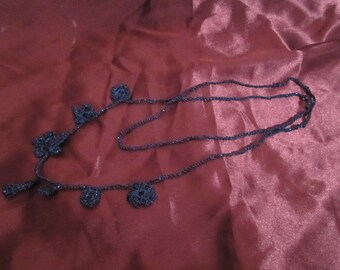 Sparkly Crochet Necklace Royal Blue