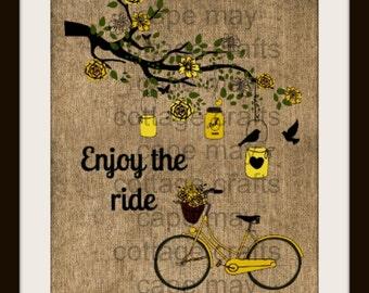 Print, Enjoy the Ride, Bike, Mason Jar